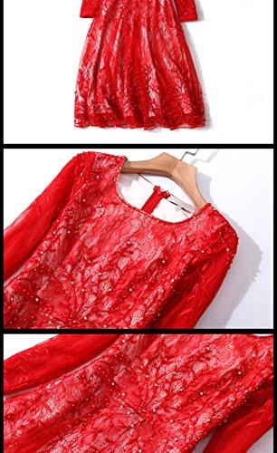 Cotylédons Des Femmes De Robes De Soirée Courte 3/4 Col Rond Manches Robes De Ligne Pour Des Occasions Formelles Rose