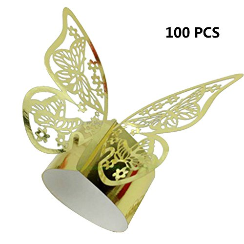 Frjjthchy Paper Hollow Butterfly Napkin Rings Serviette Holder for Wedding Party Banquet Decor (100 Packs, Gold)