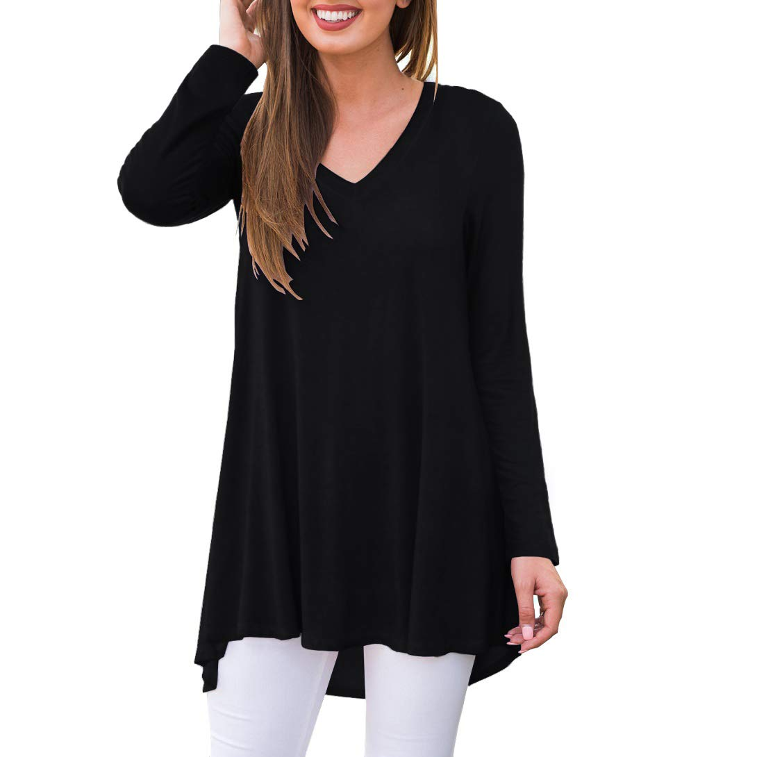 AWULIFFAN Women's Fall Long Sleeve V-Neck T-Shirt Sleepwear Tunic Tops Blouse Shirts (Black,M) by AWULIFFAN