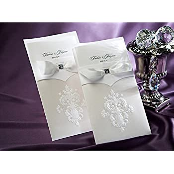 Patty Delicate Laser Cut Floral Wedding Invitation Cards for Party, Wedding, Birthday, Bridal Shower -- Set of 50 Pcs (EK-IN2033)