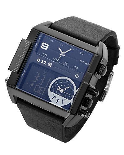 Square Men Watch Multiple Time Zone Quartz Watches Mens Leather Led Wristwatch Waterproof Relogio Masculino (Black)