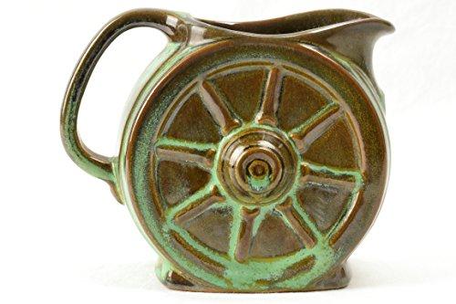 Frankoma Pottery Creamer, 1960's Prairie Green Wagon Wheel Creamer Sapulpa
