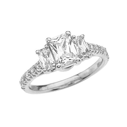 be9a006d47153 Amazon.com: Modern Contemporary Rings 10k White Gold Exquisite 3 ...