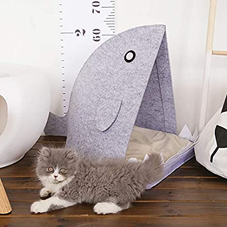 Amazon.com : FUMAK 40x60x40cm Felt Pet House Dog Cat Nest Cute Shark Shape Dog Beds Puppy Kitten Pad Supplies Portable Pet Sleeping Bag Cama Perro (Blue) ...