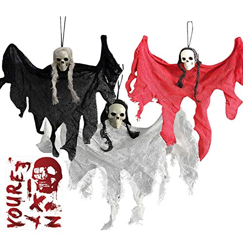 Inno-Huntz Halloween Party Ghost Decor Scary Ghost Wall Hanging Decoration Realistic Skeleton Skull Face Grim Reaper Prop Indoor Outdoor Patio Décor (Set of 3)