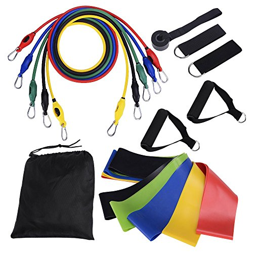 LifBetter 16 PCS Resistance Bands Set, Exercise Resistance Loops Rope Door Anchor, Foam Handles, Ankle Straps Fitness Gym Sport, Resistance Training, Physical Therapy, Home Workouts