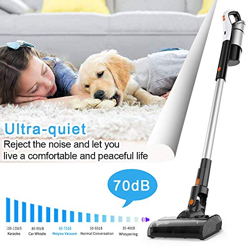 Meiyou Cordless Vacuum, Rechargeable 4-in-1 Stick Vacuum Cleaner with 18KPa Cyclonic Suction, Lightweight Cordless Vacuum Cleaner, Portable Handheld Vacuum for Home Carpet Hard Floor Car Pet Hair