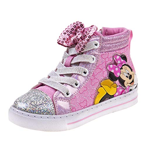 Josmo Girls Minnie Mouse High Top Sneakers, Pink Bow, 7 M US -