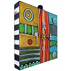 Modern Artisans Eclectic Hand-Painted Box Clock Wall Shelf, 12 Square, Handmade in the USA