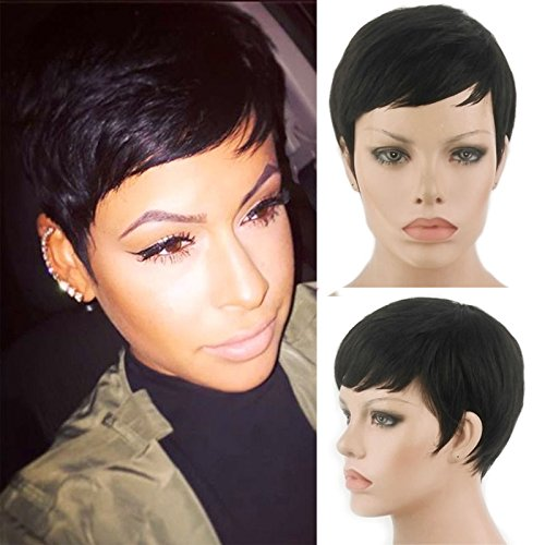 HOTKIS Human Hair Short Pixie Cut Bob Hair Wigs