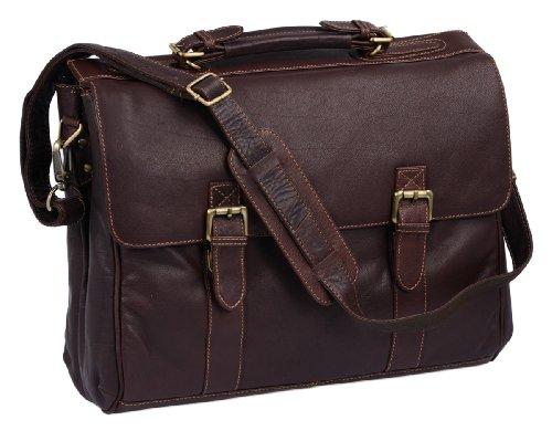 'Oxford'' - Serviette by BIANCI, cuir véritable, marron - ''LEAS Classic Bags''