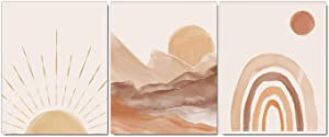Mid Century Modern Boho Themed Canvas Wall Art Prints Terracotta Sun Mountains Art Painting Wall Decor for Home Bedroom Living Room Wall Decorations, Set of 3 (8