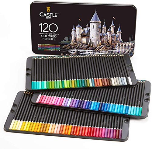 Castle Art Supplies 120 Colored Pencil Set for artists, featuring