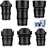 Rokinon Cine DS Lens Kit Sony E-Mount Consists 14mm T3.1 WA, 24mm T1.5 Lens, 35mm T1.5 Lens, 50mm T1.5 Lens, 85mm T1.5 Lens, 135mm T2.2, Cleaning Kit