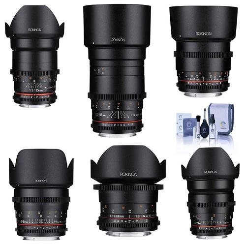 Rokinon Cine DS Lens Kit for Sony E-Mount Consists of 14mm T3.1 WA, 24mm T1.5 Lens, 35mm T1.5 Lens, 50mm T1.5 Lens, 85mm T1.5 Lens, 135mm T2.2, Cleaning Kit