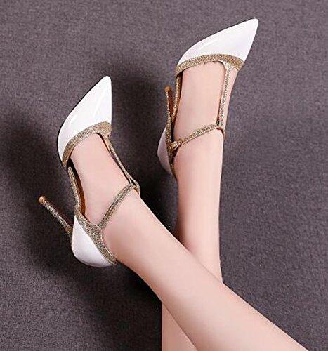 Idifu Donna Trendy Chiuso Scarpe A Punta Tacco Alto T-strap Fibbia D-orsay Scarpe Scarpe Bianche