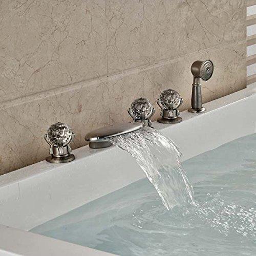 CZOOR Luxus Nickel gebürstet Bad Badewanne Armatur Dusche spritze Deck montiert Tippen, Löschen
