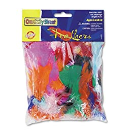 Chenille Kraft Company Products - Feathers, Approximately 325 Pieces, Assorted - Sold as 1 EA - Feathers are perfect for decorating masks, collages and other craft projects. The turkey plumage is colored with an assortment of bright hues.