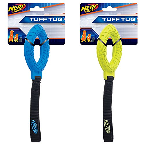 Nerf Dog (2-Pack) Tire Glide Tug Dog Toy, Blue/Green, Small