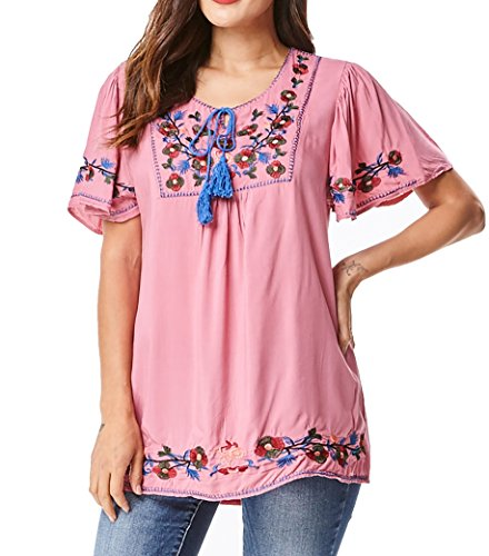 Mexican Embroidered Top (in2you Bohemian Mexican Floral Embroidered Tunic Top with Relaxed Short Ruffled Sleeves (S/M, Daiquiri Pink))