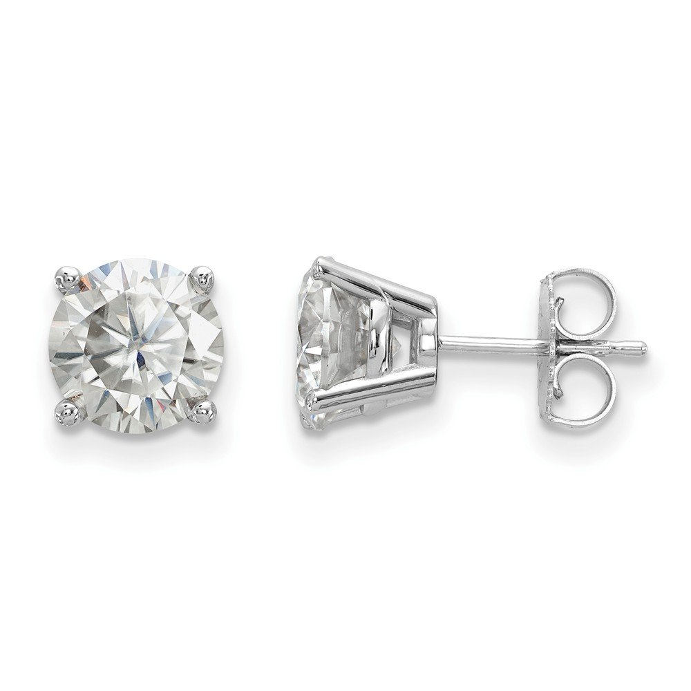 14kw 3.00ct. 7.5mm Round Moissanite 4 Prong Earrings