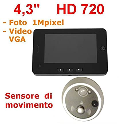 """Mirilla 4,3"""" HD 1MPixel con sensor de movimiento, visión nocturna digital Silver"""
