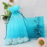 ECVILLA 100pcs Organza Bags 4 x 6 Inch Gift Bags Organza Drawstring Pouch Jewelry Party Wedding Favor Party Festival Gift Bags Candy Bags (Blue)