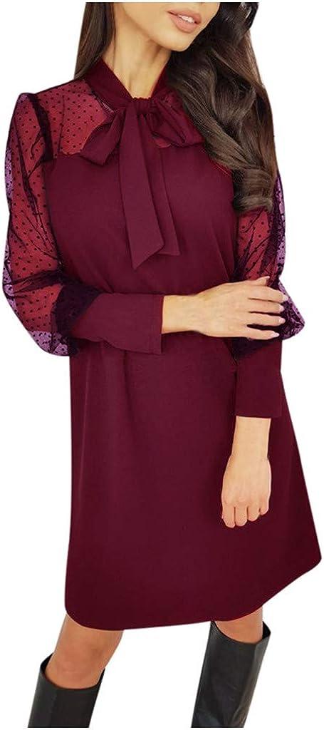 Vestido De Mujer Moda Malla Arco Color SóLido O-Cuello Cuello Puff Manga Larga Casual Patchwork