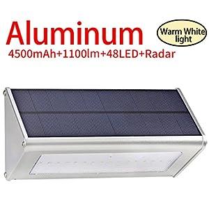 Licwshi 1100 lumens lampe solaire 48LED 4500mAh avec coque en ...