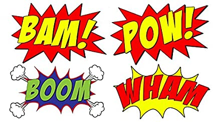 amazon com vwaq comic book set of 4 wall decal sound effects comic