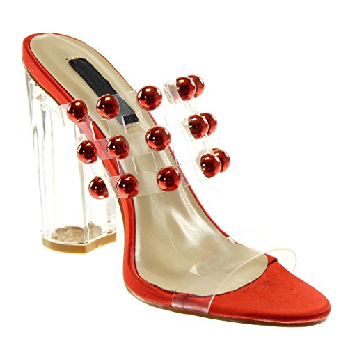 Angkorly Women's Fashion Shoes Mules Sandals - Slip-On - Pearl - Studded - Transparent Block High Heel 11.5 cm Red Sa7CFh