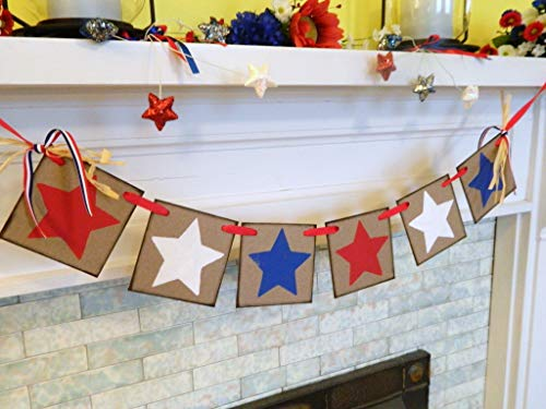 (Red White and Blue STARS Fourth of July Banner, Patriotic Holiday Garland, Country Primitive July 4th Decoration, July 4th Garland)