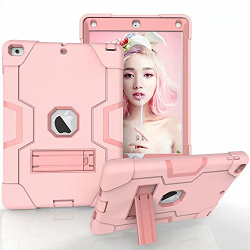 Dailylux New iPad 2018/2017 iPad 9.7 inch Case, Hybrid Three Layer Heavy Duty Armor Defender Shockproof Protective Case Kickstand High Impact Resistant Cover Apple iPad 9.7 2017/2018-Rose Gold by Dailylux