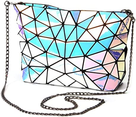 Fold Women Bag Geometric Plaid Bag Casual Tote Chain Shoulder Bag Female Composite Style Hologram Laser Silver Bag