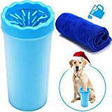 FOCUSPET Portable Dog Paw Cleaner, 9 Inch High XL Soft Silicone Pet Foot Washing Cleaning Brush Cup with 11.8 x 11.8 inch Towel