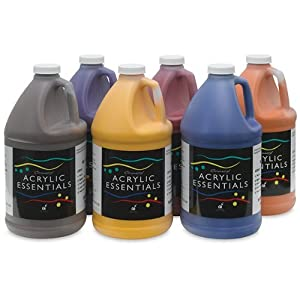 Chroma Acrylic Essentials Set, 1/2 Gallon Jugs, Assorted Secondary Colors, Set of 6
