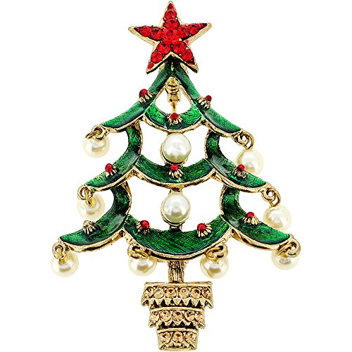 Christmas Tree Swarovski Brooch (Pearl Christmas Tree Pin Swarovski Crystal Pin Brooch And Pendant(Chain Not Included))