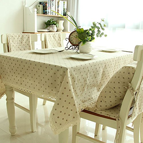 Daisy Flower Cotton Linen Tablecloth Macrame Lace Dustproof Table Cover for Kitchen Dinning Pub Tabletop Decoration by Hatsukoi (Beige ,55.1x70.9-Inch)