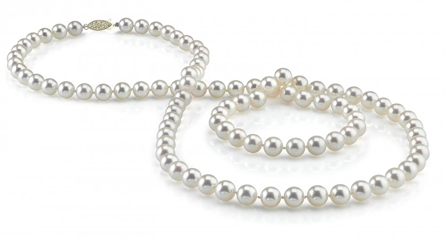 """14K Gold 7-8mm White Freshwater Cultured Pearl Necklace – AAAA Quality, 36"""" Matinee Length"""