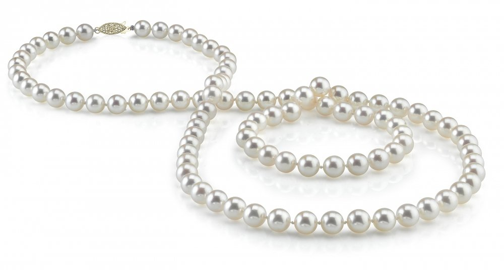 THE PEARL SOURCE 14K Gold 7-8mm AAA Quality White Freshwater Cultured Pearl Necklace for Women in 36'' Opera Length