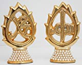 Islamic Muslim Gold Color Stand Ceramic with Rhinestone and Pearl / Favor Allah & Mohammad / Home Decorative # 1365