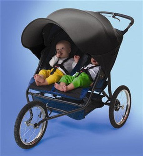 48139dcec52 Kiddopotamus RayShade UV Protective Stroller Sun Shade (Double - Black)   Amazon.co.uk  Baby
