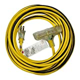 Morris 89303 Outdoor Extension Cord, 12/3, 25' Length, Yellow/Black