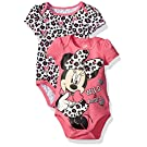 Disney Girls' Minnie Mouse Adorable Soft 2 Pack Bodysuits, Bright Pink, 0-3 Months