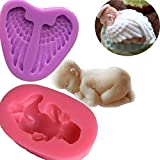 Anyana sleeping Baby Angel Wing silicone mould cake Fondant gum paste mold for Sugar paste gum paste baby shower cupcake decorating topper decoration sugarcraft decor set of 2