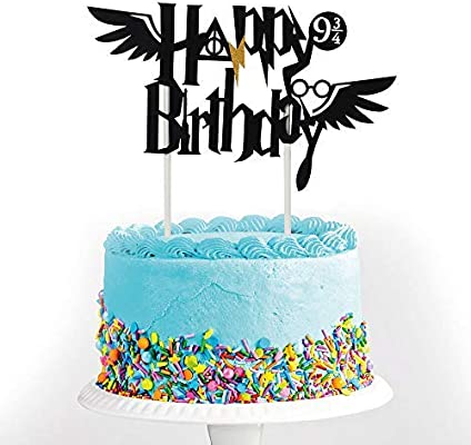 Amazing Black Happy Birthday Cake Topper Non Woven Fabric With Flash Personalised Birthday Cards Epsylily Jamesorg