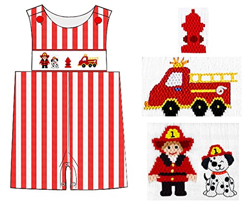 Dana Kids Fire Truck Smocked Shortall Baby Toddler Boys 6 Months to 4T (12 Months)