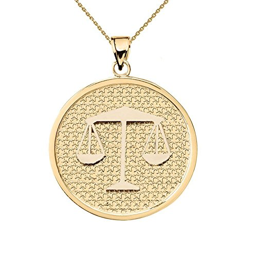 Solid 14k Yellow Gold Round Libra Zodiac Sign Pendant Necklace, 18