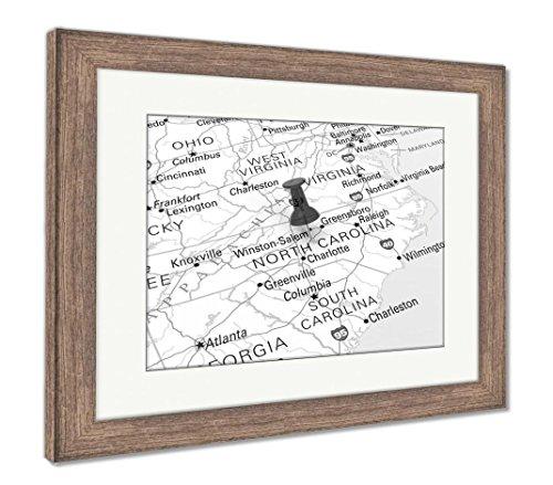 (Ashley Framed Prints North Carolina Map, Wall Art Home Decoration, Black/White, 26x30 (frame size), Rustic Barn Wood Frame, AG6112336)