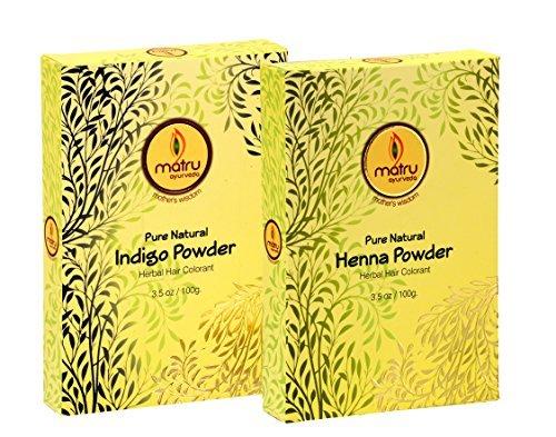 MATRU AYURVEDA Mehndi/Henna(100gms)+Indigo(100gms) Powder Ayurvedic/Herbal Hair and Beard Dye/Color Kit. 100% Pure and Natural; Chemical Free Hair and Beard Color/Dye; Covers Gray Hair, (Twin)